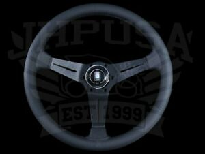 Nardi Steering Wheel Deep Corn 350mm Black Perf Leather Black Stitch Type A Horn