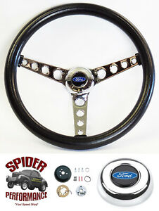 1965 1966 Ford F 100 Steering Wheel Blue Oval 14 1 2 Classic Chrome