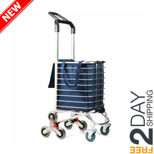 Shopping Cart Portable Utility Carts Folding Trolley Light Weight Stair Climbing
