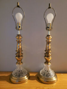 Pair Vintage Hollywood Regency Brass Table Lamps Brass Crystal Glass Base