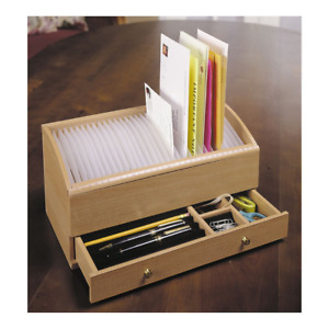 Natural Wood Space Saver Letter And Bill Organizer With Compartments Drawer A