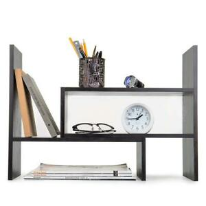Adjustable Wood Desktop Storage Organizer Display Shelf Rack Dark Gray