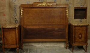 Antique Burlwood Louis Xvi Headboard With Matching Marble Top Nightstands Offer