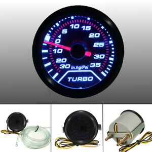 52mm 2 Led Turbo Boost Press Pressure Vacuum Gauge Meter Psi Smoke Face Tint