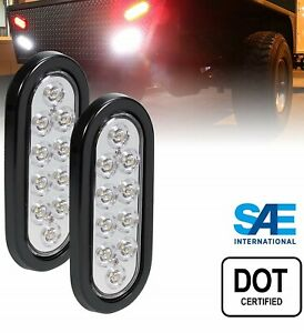 2 Oval 6 Clear White Led Flush Mount Light Reverse Back Up Truck Trailer