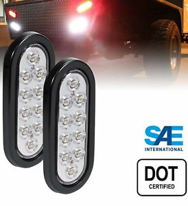 2 Oval 6 Clear white Oval 10 Led Trailer Truck Stop Turn Tail Lights 12v