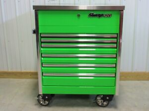 Snap On Extreme Green Sidekiq Epiq Tool Box Cart Stainless Steel Work Top