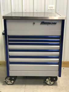 Snap On Arctic Silver Blue Sidekiq Epiq Tool Box Cart Stainless Steel Top