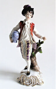 Antique Capodimonte Colonial Man Water Jug Porcelain Boy Figurine Figure Germany
