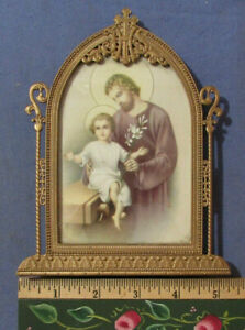 Fancy Antique Metal Arch Stand Up Frame With Religous Print Joseph