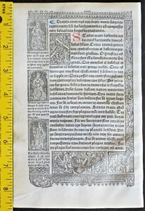 Lge Printed Medieval Boh Deco Border Showing Sybils Simon Vostre C 1512