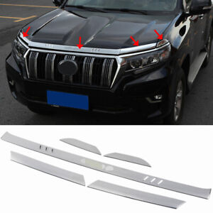 Chrome Engine Hood Trim Strip Cover 5pcs For Toyota Land Cruiser Prado 2018 2019