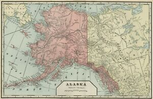 Alaska Territory Authentic 1899 Map Large Much Uncharted