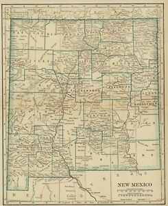 New Mexico Map 100 Years Old Showing Counties Towns Topography Railroads