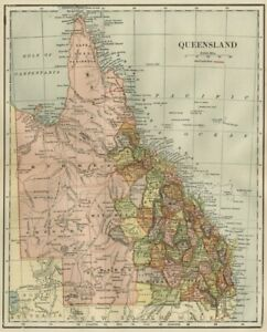 Queensland Australia Map 1891 Counties Towns Rivers Rrs Topography