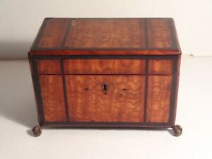 Antique 18th Cent English Double Tea Caddy Inlaid Trim W Brass Ball