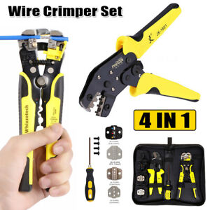 4 In 1 Wire Crimpers Automatic Wire Stripper Pliers Terminals Tool Set W 4 Dies