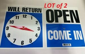 2 Double sided Open come In Will Return Sign With Clock Hands 7 5 X 9 Rg10 22