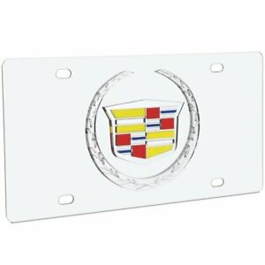Cadillac Stainless Steel License Plate With Crest Logo