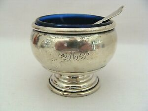 Monogrammed Sterling Silver Salt Dip With Blue Glass Insert And Sterling Spoon