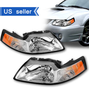 For 1999 2004 Ford Mustang Cobra Chrome Crystal Headlights