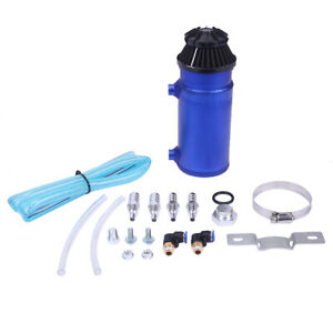 Universal Aluminum Oil Catch Can Reservoir Tank W Breather Filter Baffled Blue