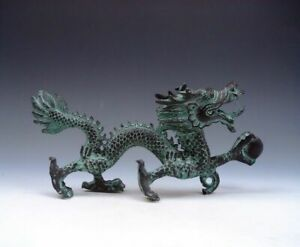 Bronze Crafted Sculpture Furious Walking Dragon Holding Pearl Ball Home Decor