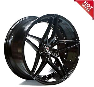 Set4 20 Staggered Marquee Wheels M3259 Black Rims Fs
