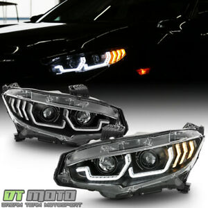 For 2016 2020 Honda Civic Black Led Tube Sequential Signal Projector Headlights