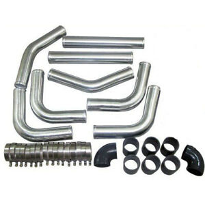 8 piece Kit 1 8mm 3 Od Universal Aluminum Intercooler Pipe W hoses