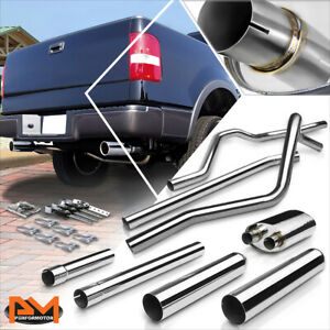 For 04 08 Ford F150 4 6 5 4 V8 3 5 Rolled Tip Muffler S S Catback Exhaust System