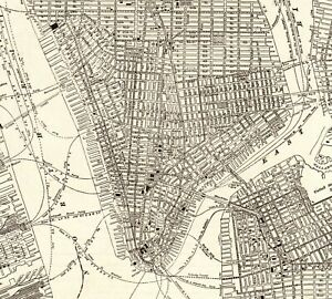 1908 Antique Manhattan Map Vintage New York City Map Black And White 6878