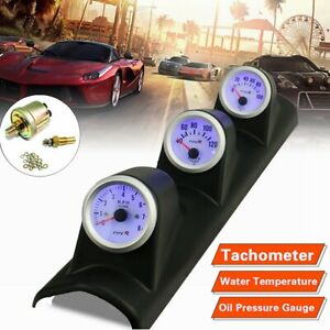 Universal Car 52mm 3 In 1 Tachometer Water Temperature Meter Oil Pressure Gauge
