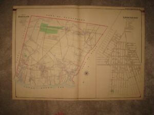 Huge Antique 1902 New York Babylon Lindenhurst Deer Park Amityville Handcolr Map