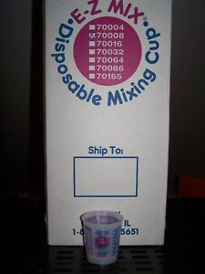 8 Oz Mixing Cups Half Pint Size Ez mix Plastic 70008 Case Of 100 American Made