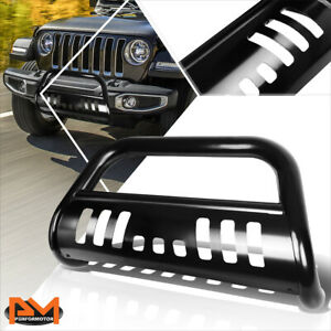 For 18 19 Jeep Wrangler 3 Tubing Bull Bar Front Push Bumper Grille Guard Black