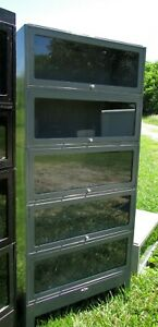 Vintage Gray Metal Stack Of 4 Barrister Lawyer Bookcases W Base