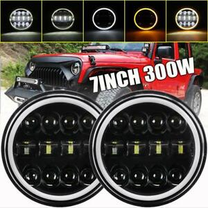 Dot 300w 7 inch Led Headlight Halo Black Drl For Jeep Wrangler Jk Jl Tj Cj Chevy