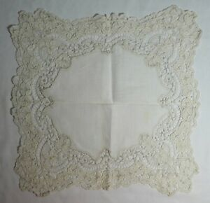 Antique Lace Wedding Hankie Elaborate Floral Embroidery Linen 13 Square