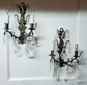 Pair Antique French Crystal Prisms Pendants Bronze 2 Light Wall Sconces