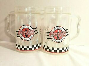 Coca Cola Mugs Set Of 2 1996 Clear Plastic Water Filled Freezer Mugs 16 oz.