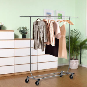 Chrome Collapsible Clothing Shelf Rolling Rack Heavy Duty Garment Hanger Storage