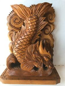 Vintage Hand Carved Wooden Dragon Statue Figure Intricate Design 12 5 Tall