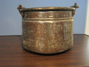 Vintage Antique Hammered Solid Copper Hanging Cauldron With Hammered Handle