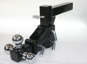 Tri ball Tow Hitch Mount Raise Drop Adjustable Vertical Travel 2 Solid Shank