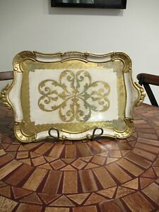 Vtg Italian Florentine Toleware Gilded Gold Gilt Tray Florence Made In Italy