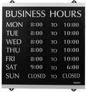 Hanging Business Hours Window Sign Hours Of Operation Black And Silver
