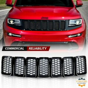 Front Mesh Grill Honeycomb Insert Trim For Jeep Grand Cherokee 2014 2016 Black