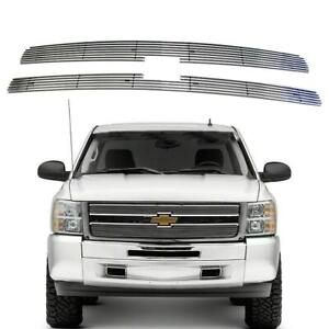 2pcs Horizontal Overlay Billet Grille Insert Fits 2007 2013 Chevy Silverado 1500