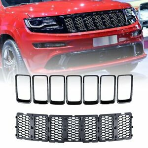 Black Honeycomb Grill Inserts Trim Kit For 2014 2015 2016 Jeep Grand Cherokee